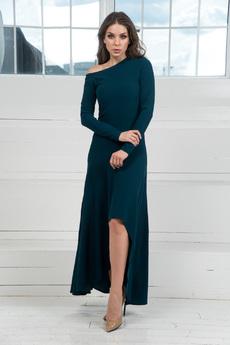 Платье с открытым плечом и длинными рукавами Mondigo
