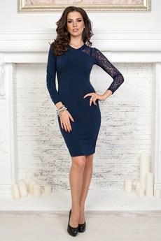 Темно синее платье с кружевом Angela Ricci