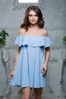 Голубое платье с воланом Look Russian