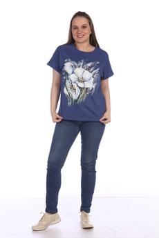 Синяя футболка с цветами ZAVI