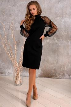 Черное платье с рукавами в сетку Open-Style